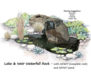 Picture of Lake & Weir Waterfall Rock AD807